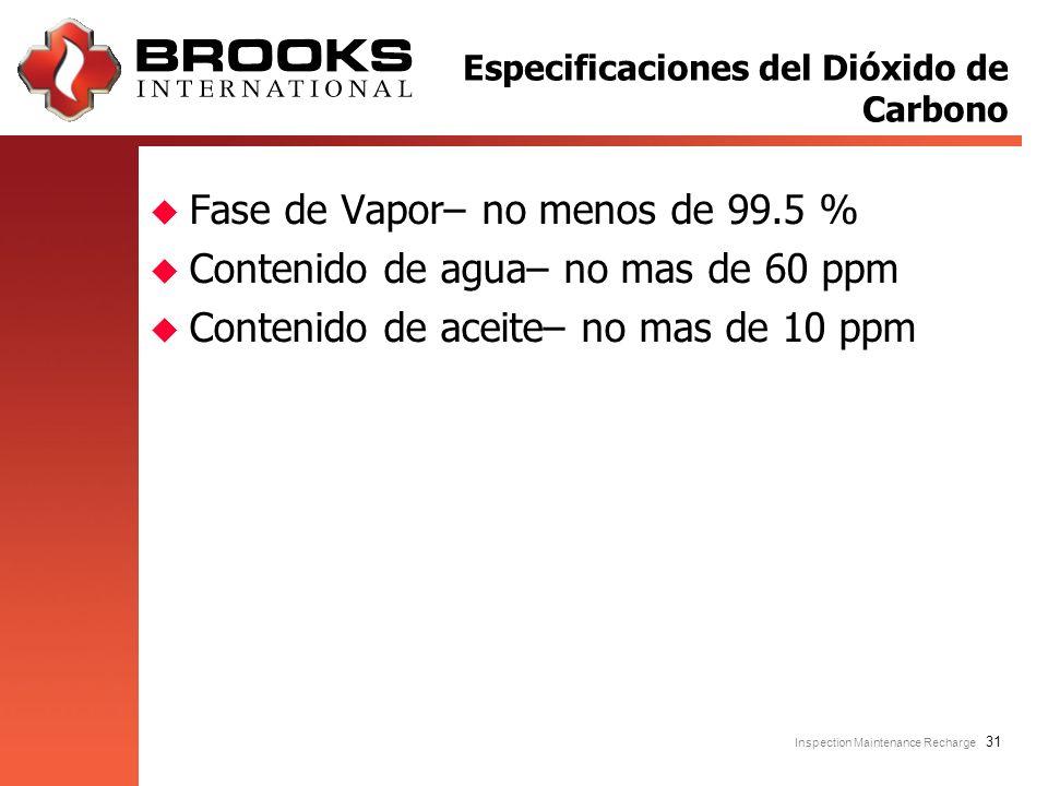 Inspection Maintenance Recharge 31 u Fase de Vapor– no menos de 99.5 % u Contenido de agua– no mas de 60 ppm u Contenido de aceite– no mas de 10 ppm E