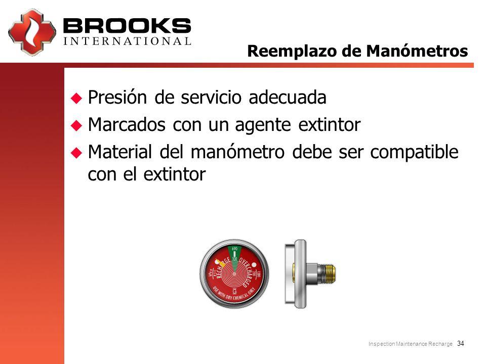 Inspection Maintenance Recharge 34 u Presión de servicio adecuada u Marcados con un agente extintor u Material del manómetro debe ser compatible con e