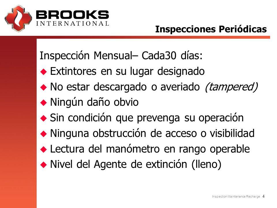 Inspection Maintenance Recharge 4 Inspección Mensual– Cada30 días: u Extintores en su lugar designado u No estar descargado o averiado (tampered) u Ni