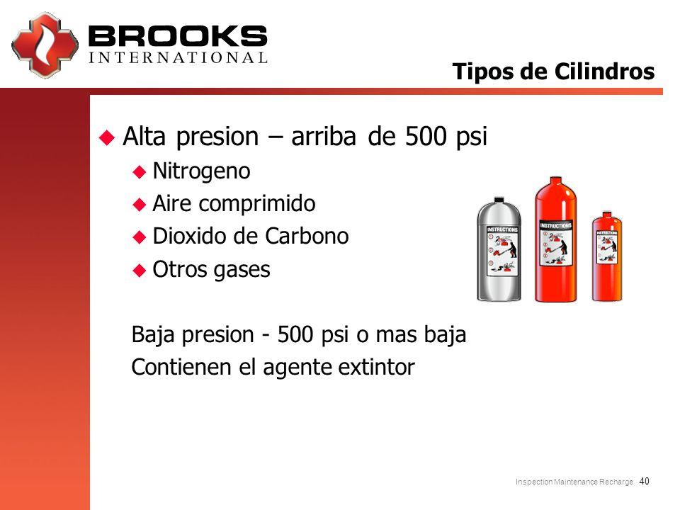 Inspection Maintenance Recharge 40 u Alta presion – arriba de 500 psi u Nitrogeno u Aire comprimido u Dioxido de Carbono u Otros gases Baja presion -