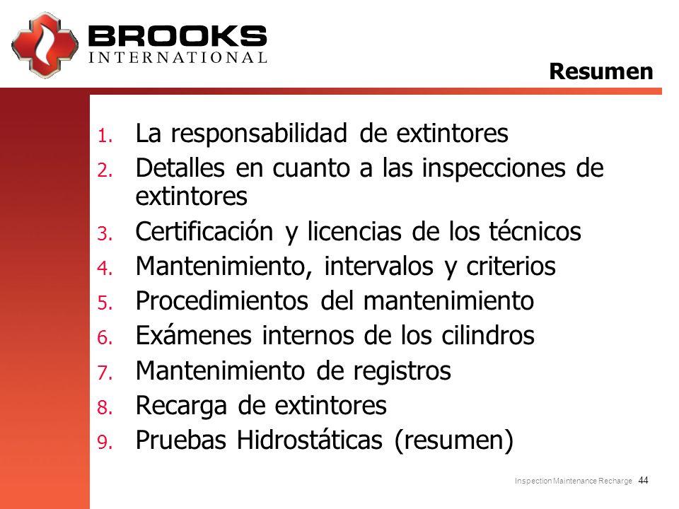 Inspection Maintenance Recharge 44 1. La responsabilidad de extintores 2. Detalles en cuanto a las inspecciones de extintores 3. Certificación y licen