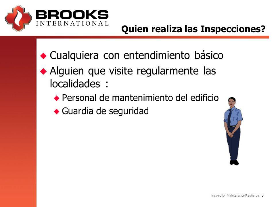 Inspection Maintenance Recharge 6 u Cualquiera con entendimiento básico u Alguien que visite regularmente las localidades : u Personal de mantenimient