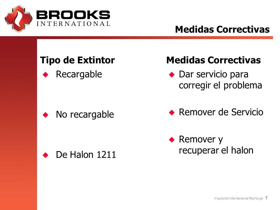 Inspection Maintenance Recharge 7 Tipo de Extintor u Recargable u No recargable u De Halon 1211 Medidas Correctivas u Dar servicio para corregir el pr