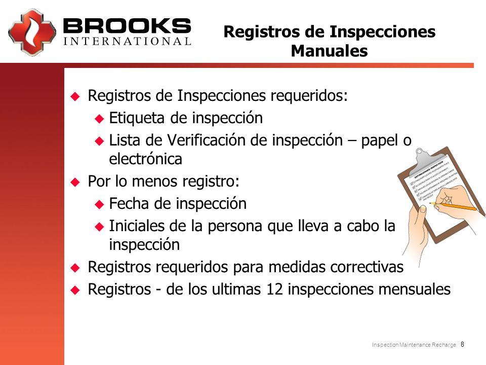 Inspection Maintenance Recharge 8 u Registros de Inspecciones requeridos: u Etiqueta de inspección u Lista de Verificación de inspección – papel o ele