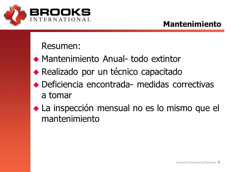 Inspection Maintenance Recharge 9 Resumen: u Mantenimiento Anual- todo extintor u Realizado por un técnico capacitado u Deficiencia encontrada- medida