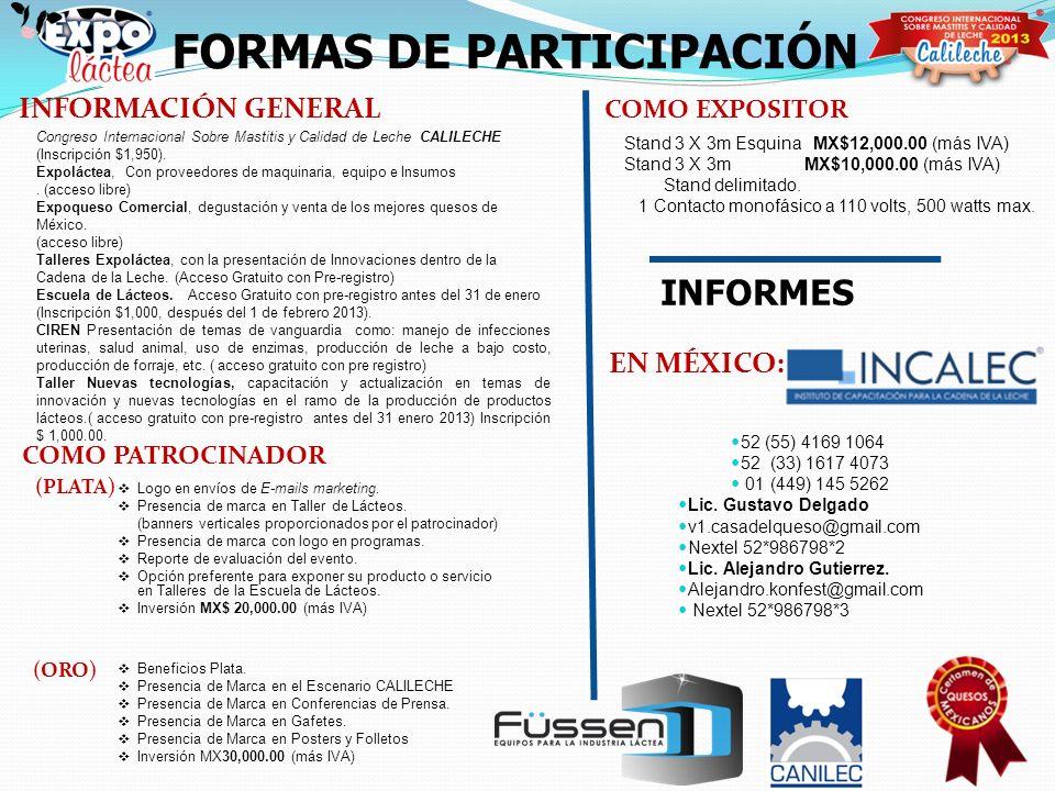 FORMAS DE PARTICIPACIÓN INFORMACIÓN GENERAL COMO EXPOSITOR Stand 3 X 3m Esquina MX$12,000.00 (más IVA) Stand 3 X 3m MX$10,000.00 (más IVA) Stand delim