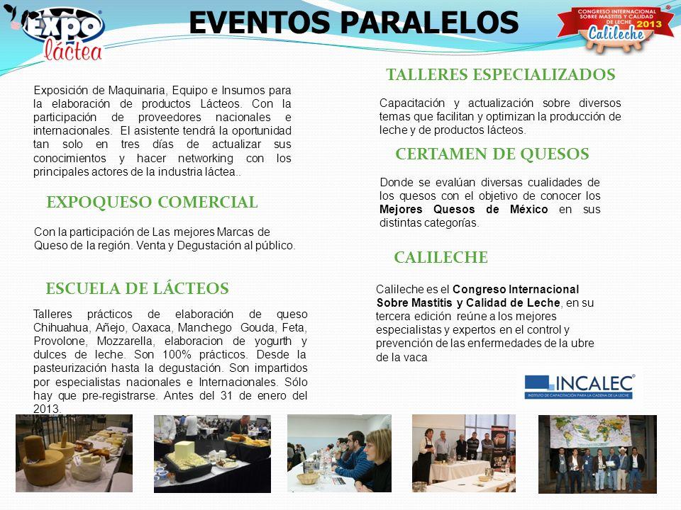 TALLERES ESPECIALIZADOS CERTAMEN DE QUESOS CALILECHE ESCUELA DE LÁCTEOS EVENTOS PARALELOS Exposición de Maquinaria, Equipo e Insumos para la elaboraci