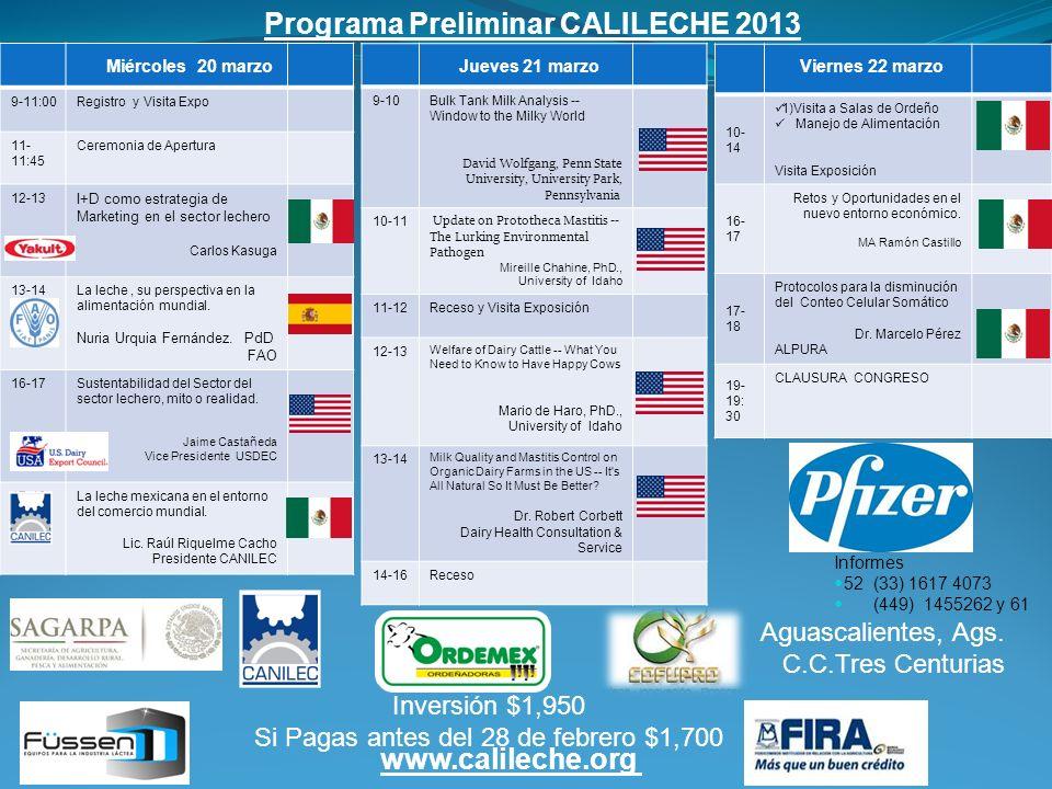 9-11:00Registro y Visita Expo 11- 11:45 Ceremonia de Apertura 12-13 I+D como estrategia de Marketing en el sector lechero Carlos Kasuga 13-14La leche,