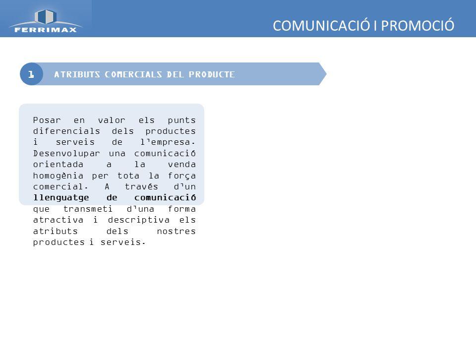 COMUNICACIÓ I PROMOCIÓ 1 Posar en valor els punts diferencials dels productes i serveis de lempresa. Desenvolupar una comunicació orientada a la venda