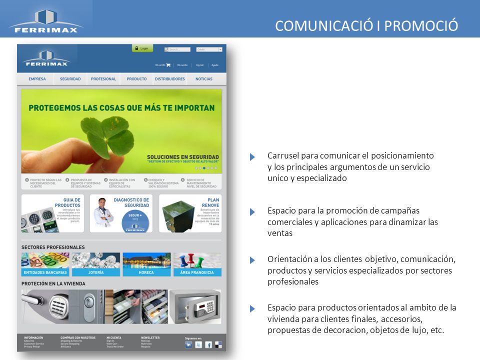 COMUNICACIÓ I PROMOCIÓ Espacio para la promoción de campañas comerciales y aplicaciones para dinamizar las ventas Orientación a los clientes objetivo,