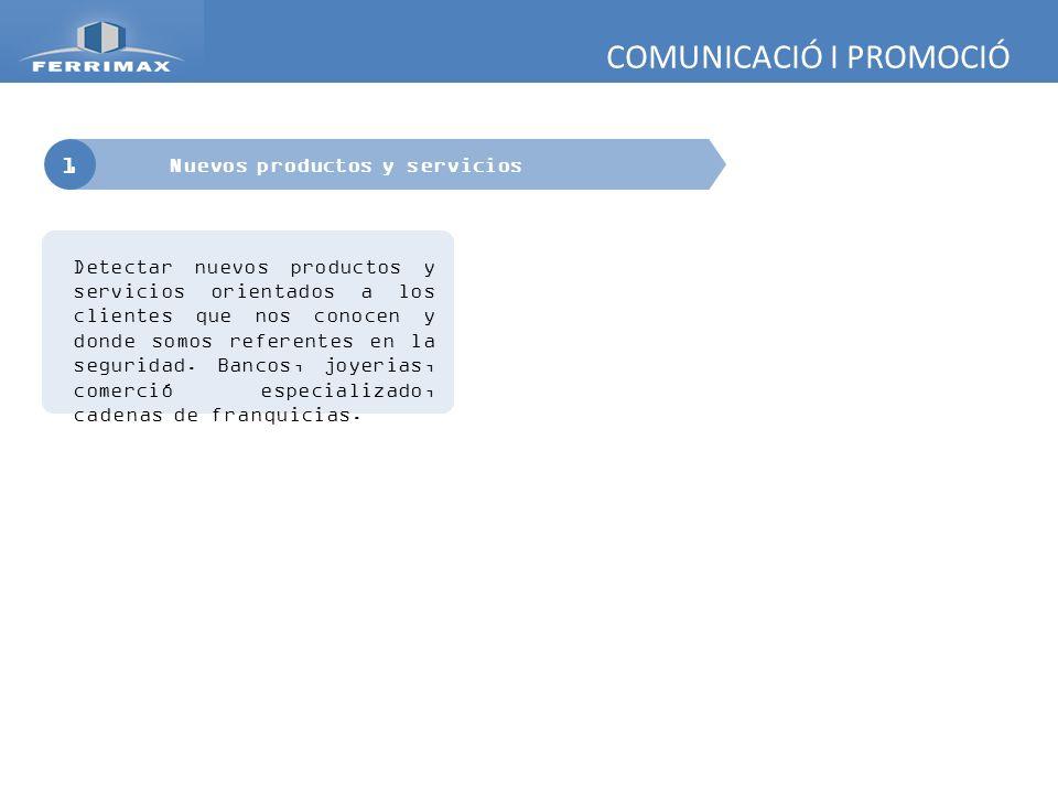 COMUNICACIÓ I PROMOCIÓ 1 Nuevos productos y servicios PRODUCTOS CANAL JOYERIA Los profesionales de la joyeria pueden ser precriptores ideales de la empresa para el publico final.
