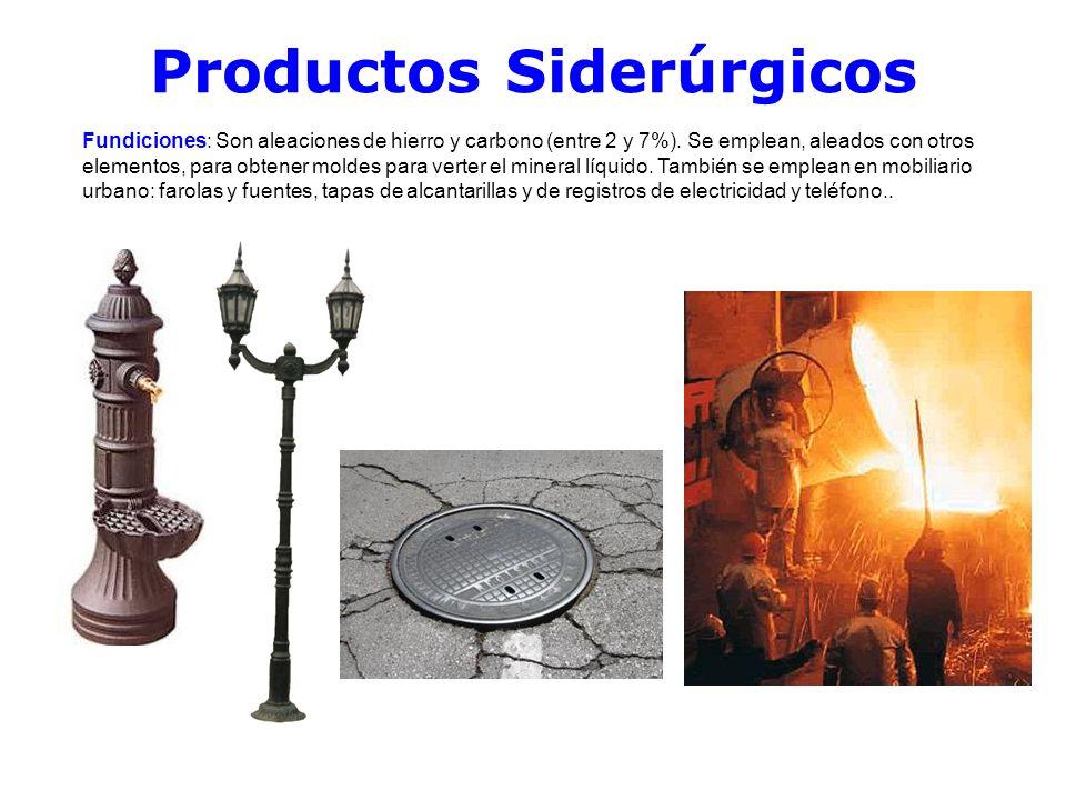 Productos Siderúrgicos Fundiciones: Son aleaciones de hierro y carbono (entre 2 y 7%). Se emplean, aleados con otros elementos, para obtener moldes pa