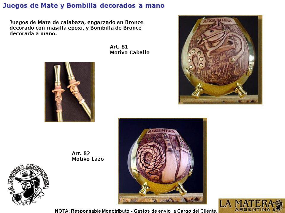 Art.82 Motivo Lazo Juegos de Mate y Bombilla decorados a mano Art.