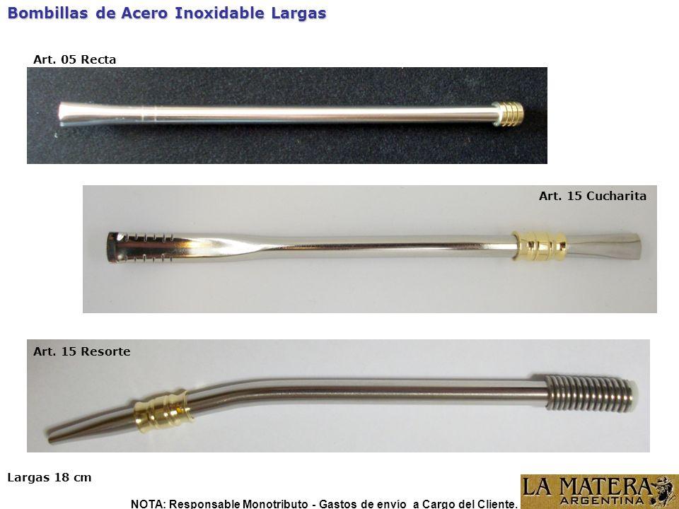 Bombillas de Acero Inoxidable Largas Art. 05 Recta Largas 18 cm NOTA: Responsable Monotributo - Gastos de envío a Cargo del Cliente. Art. 15 Cucharita