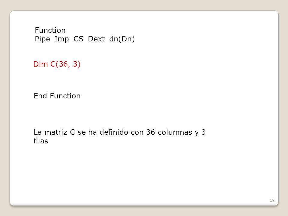 19 Dim C(36, 3) Function Pipe_Imp_CS_Dext_dn(Dn) End Function La matriz C se ha definido con 36 columnas y 3 filas