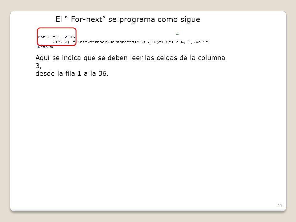 29 El For-next se programa como sigue Aquí se indica que se deben leer las celdas de la columna 3, desde la fila 1 a la 36.