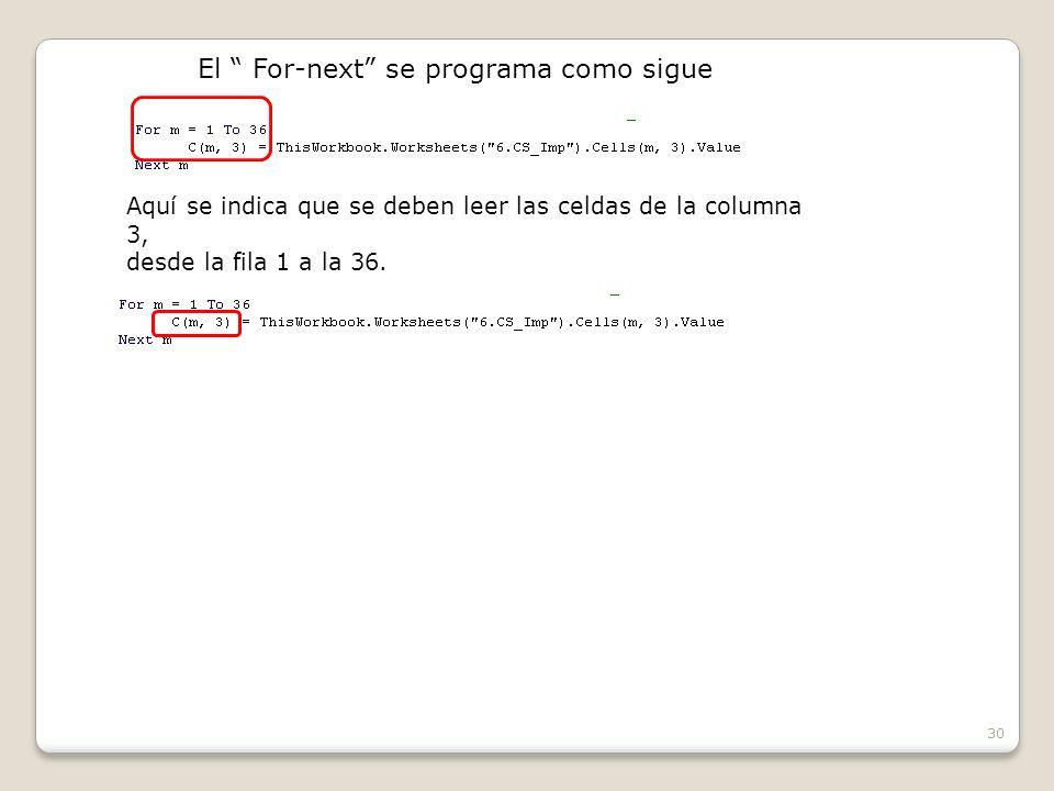30 El For-next se programa como sigue Aquí se indica que se deben leer las celdas de la columna 3, desde la fila 1 a la 36.