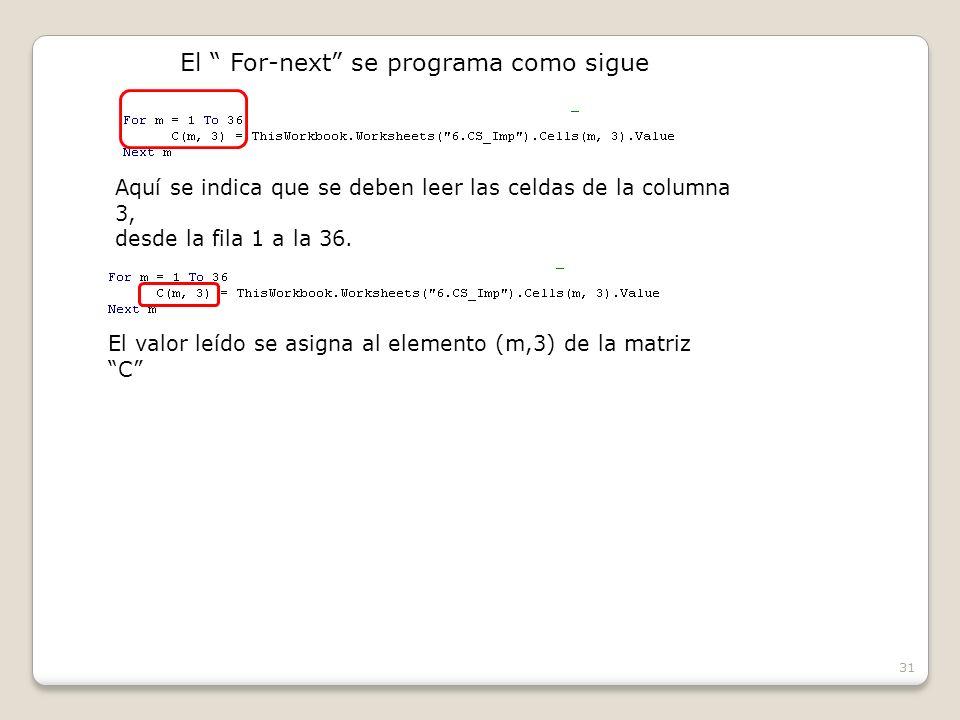 31 El For-next se programa como sigue Aquí se indica que se deben leer las celdas de la columna 3, desde la fila 1 a la 36.