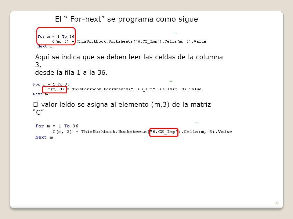 32 El For-next se programa como sigue Aquí se indica que se deben leer las celdas de la columna 3, desde la fila 1 a la 36.