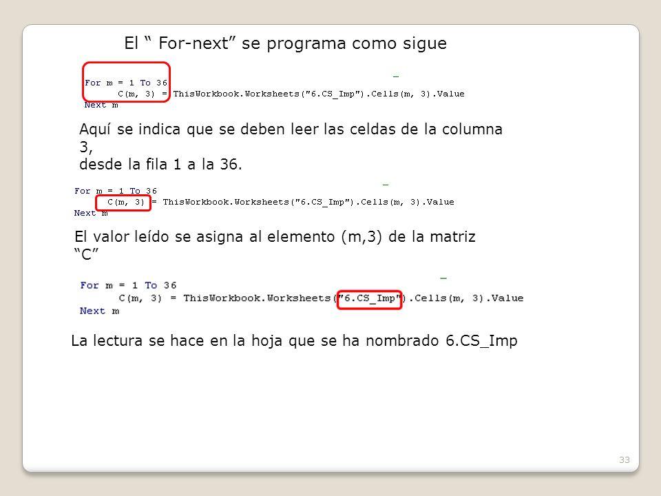 33 El For-next se programa como sigue Aquí se indica que se deben leer las celdas de la columna 3, desde la fila 1 a la 36.