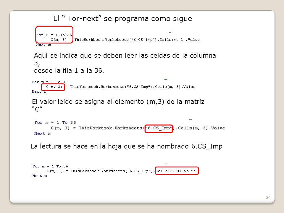 34 El For-next se programa como sigue Aquí se indica que se deben leer las celdas de la columna 3, desde la fila 1 a la 36.