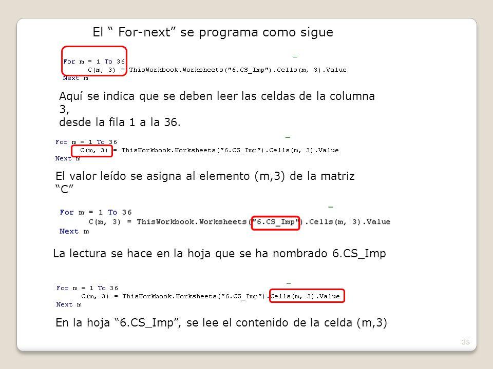 35 El For-next se programa como sigue Aquí se indica que se deben leer las celdas de la columna 3, desde la fila 1 a la 36.