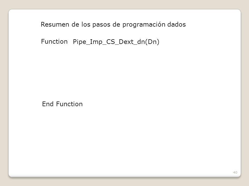 40 Resumen de los pasos de programación dados Function Pipe_Imp_CS_Dext_dn(Dn) End Function