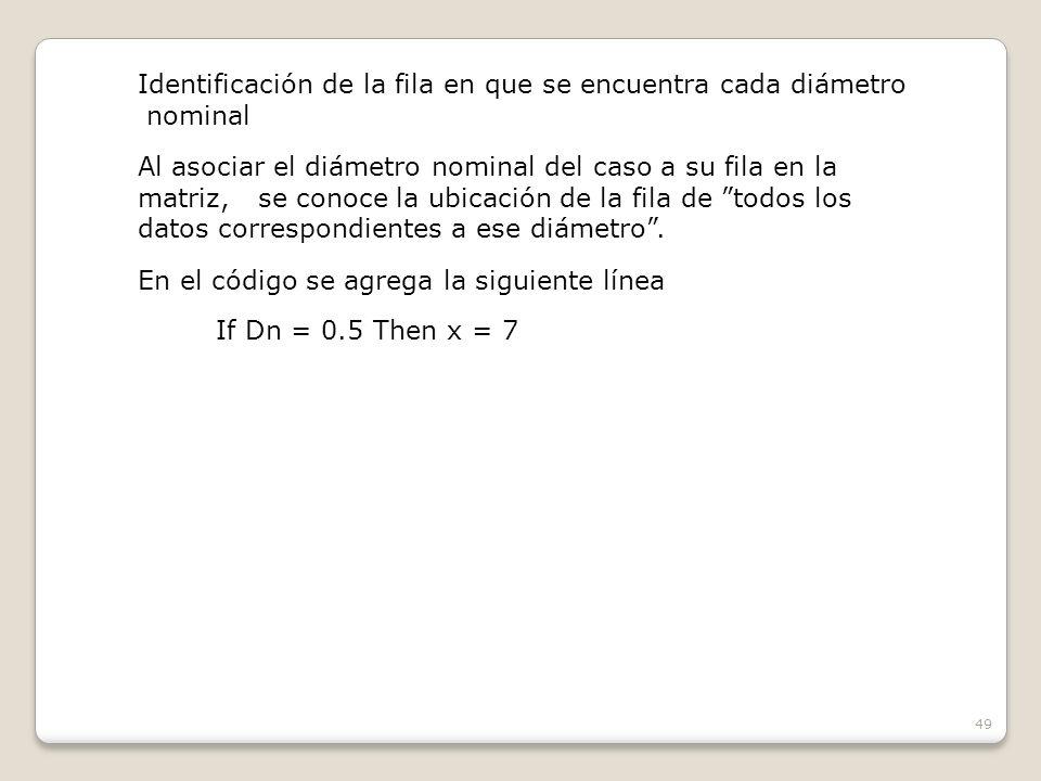 49 Identificación de la fila en que se encuentra cada diámetro nominal Al asociar el diámetro nominal del caso a su fila en la matriz, se conoce la ubicación de la fila de todos los datos correspondientes a ese diámetro.