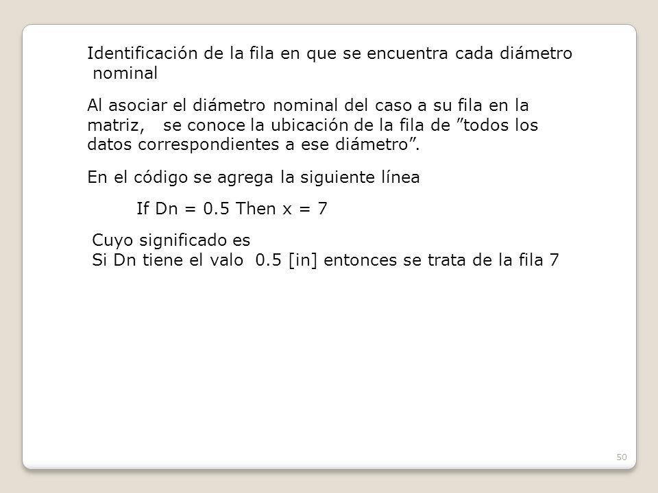 50 Identificación de la fila en que se encuentra cada diámetro nominal Al asociar el diámetro nominal del caso a su fila en la matriz, se conoce la ubicación de la fila de todos los datos correspondientes a ese diámetro.
