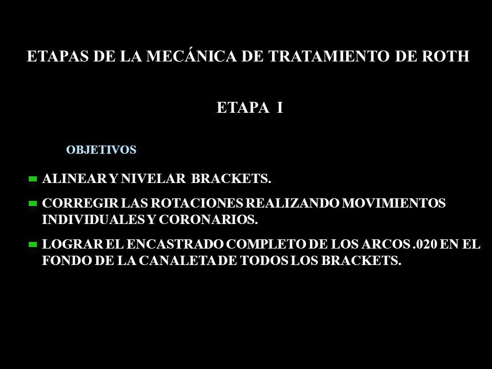 ETAPA I ETAPAS DE LA MECÁNICA DE TRATAMIENTO DE ROTH OBJETIVOS ALINEAR Y NIVELAR BRACKETS. CORREGIR LAS ROTACIONES REALIZANDO MOVIMIENTOS INDIVIDUALES
