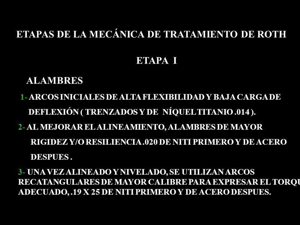 ETAPA I ETAPAS DE LA MECÁNICA DE TRATAMIENTO DE ROTH ALAMBRES 1- ARCOS INICIALES DE ALTA FLEXIBILIDAD Y BAJA CARGA DE DEFLEXIÓN ( TRENZADOS Y DE NÍQUE