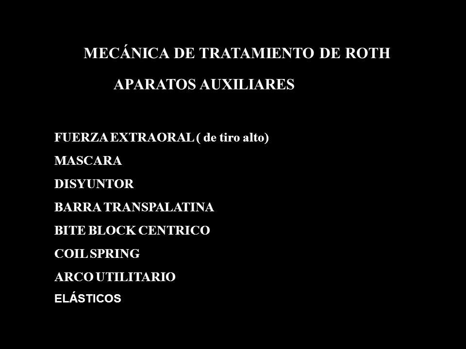 APARATOS AUXILIARES MECÁNICA DE TRATAMIENTO DE ROTH FUERZA EXTRAORAL ( de tiro alto) MASCARA DISYUNTOR BARRA TRANSPALATINA BITE BLOCK CENTRICO COIL SP