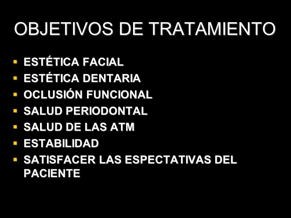 OBJETIVOS DE TRATAMIENTO ESTÉTICA FACIAL ESTÉTICA FACIAL ESTÉTICA DENTARIA ESTÉTICA DENTARIA OCLUSIÓN FUNCIONAL OCLUSIÓN FUNCIONAL SALUD PERIODONTAL S