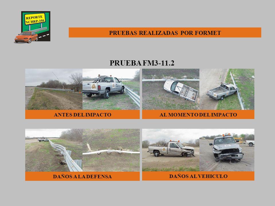 REPORTE NCHRP-350 PRUEBA FM3-11.2 Para esta prueba se utilizó una camioneta pick-up DODGE D2500 de 3/4 Ton. Modelo 1996 con las siguientes característ