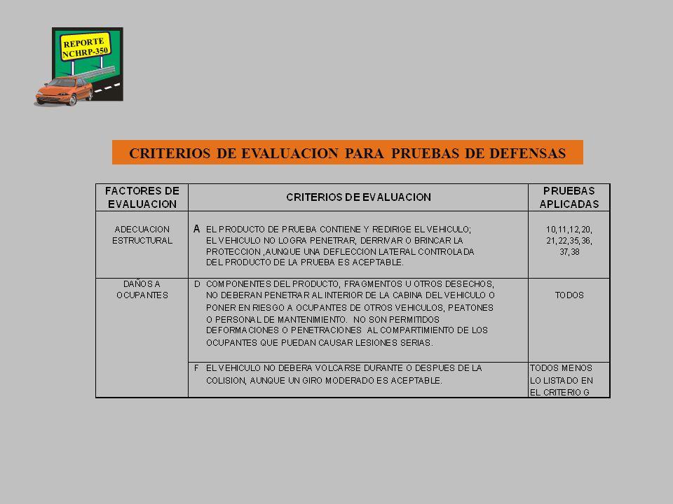 REPORTE NCHRP-350 NIVELES DE PRUEBA PARA DEFENSAS