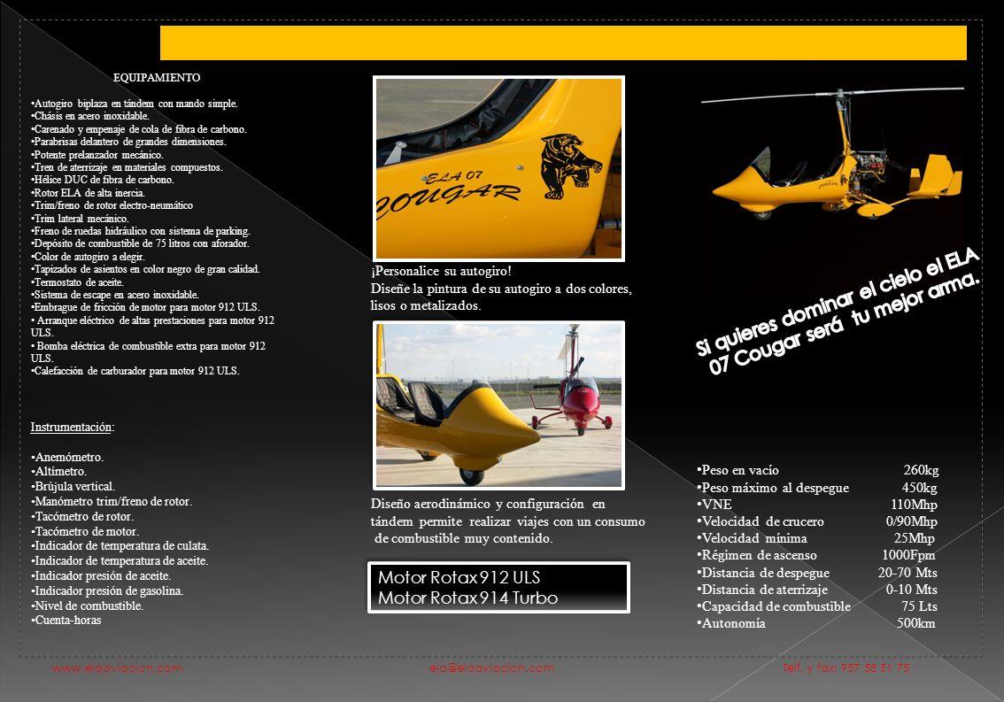 Peso en vacío 260kg Peso máximo al despegue 450kg VNE 110Mhp Velocidad de crucero 0/90Mhp Velocidad mínima 25Mhp Régimen de ascenso 1000Fpm Distancia