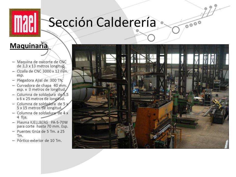 Sección Calderería Maquinaria : – Maquina de oxicorte de CNC de 3,3 x 13 metros longitud. – Cizalla de CNC 3000 x 12 mm. esp. – Plegadora Ajial de 300