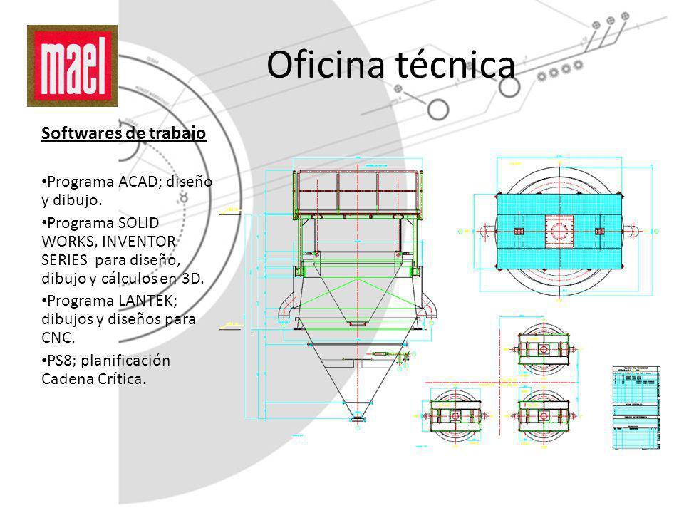 Oficina técnica Softwares de trabajo Programa ACAD; diseño y dibujo. Programa SOLID WORKS, INVENTOR SERIES para diseño, dibujo y cálculos en 3D. Progr
