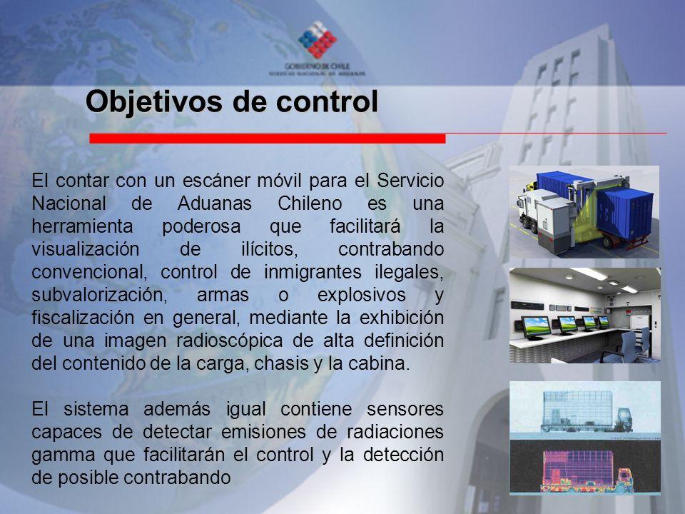 Objetivos de control El contar con un escáner móvil para el Servicio Nacional de Aduanas Chileno es una herramienta poderosa que facilitará la visuali