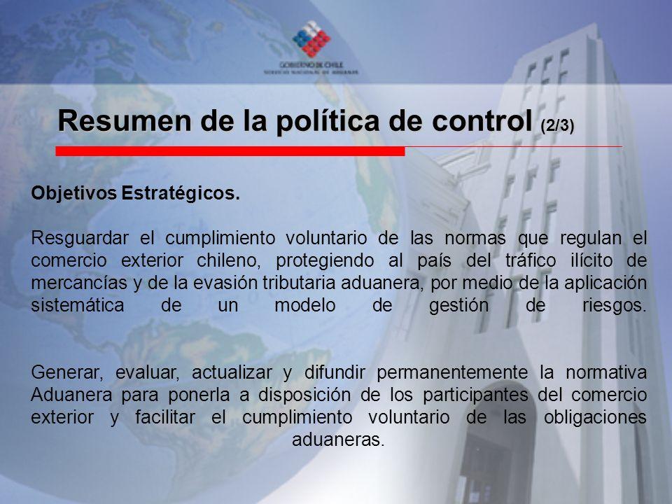 Resumen de la política de control (2/3) Objetivos Estratégicos. Resguardar el cumplimiento voluntario de las normas que regulan el comercio exterior c