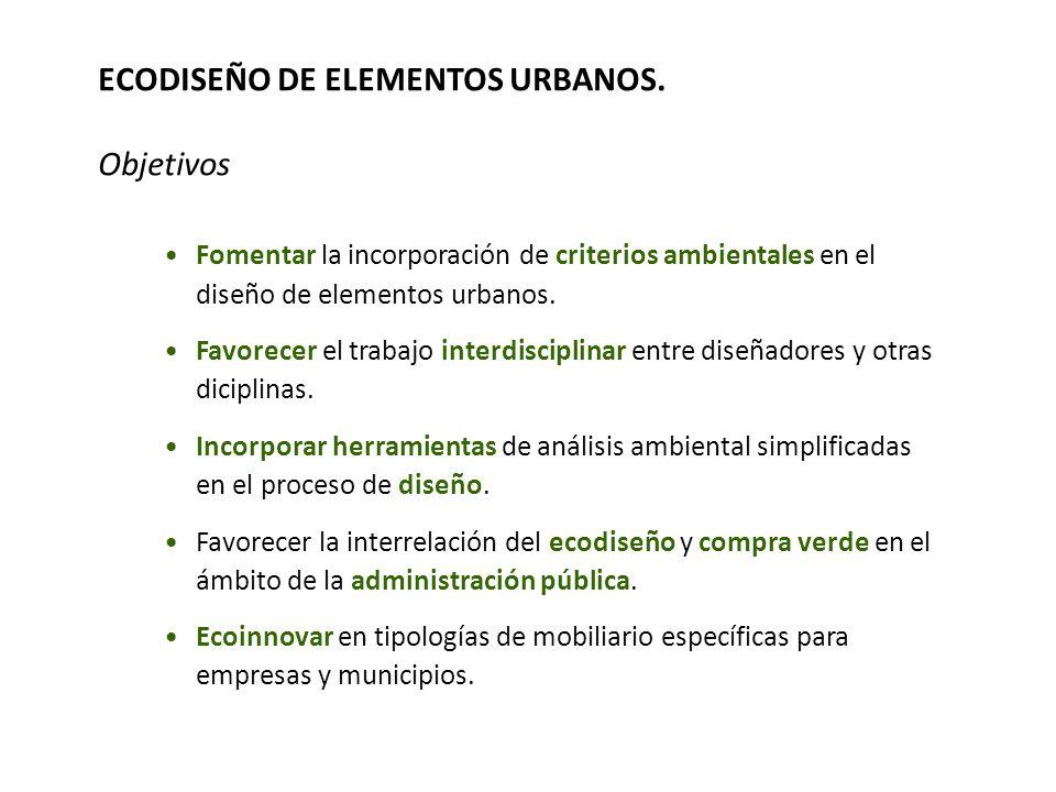 ECODISEÑO DE ELEMENTOS URBANOS. Objetivos Fomentar la incorporación de criterios ambientales en el diseño de elementos urbanos. Favorecer el trabajo i