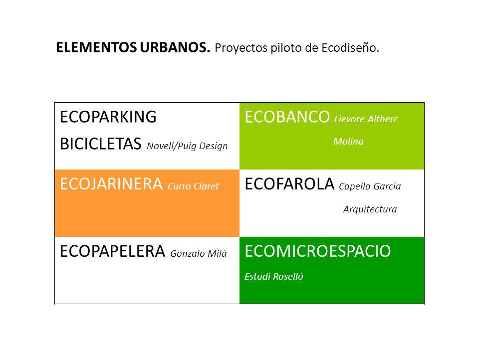 ECOPARKING BICICLETAS Novell/Puig Design ECOBANCO Lievore Altherr Molina ECOJARINERA Curro Claret ECOFAROLA Capella Garcia Arquitectura ECOPAPELERA Go