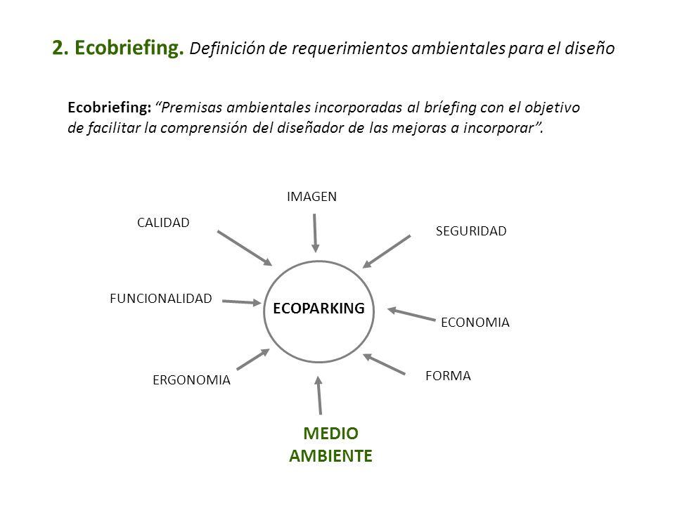 2. Ecobriefing. Definición de requerimientos ambientales para el diseño Ecobriefing: Premisas ambientales incorporadas al bríefing con el objetivo de
