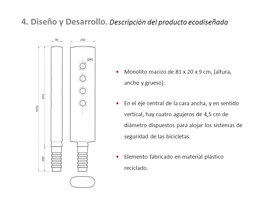 4. Diseño y Desarrollo. Descripción del producto ecodiseñado Monolito macizo de 81 x 20 x 9 cm, (altura, ancho y grueso). En el eje central de la cara