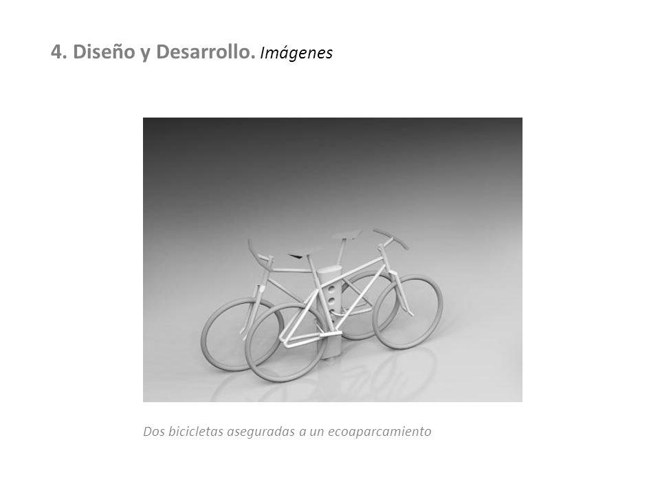 Dos bicicletas aseguradas a un ecoaparcamiento