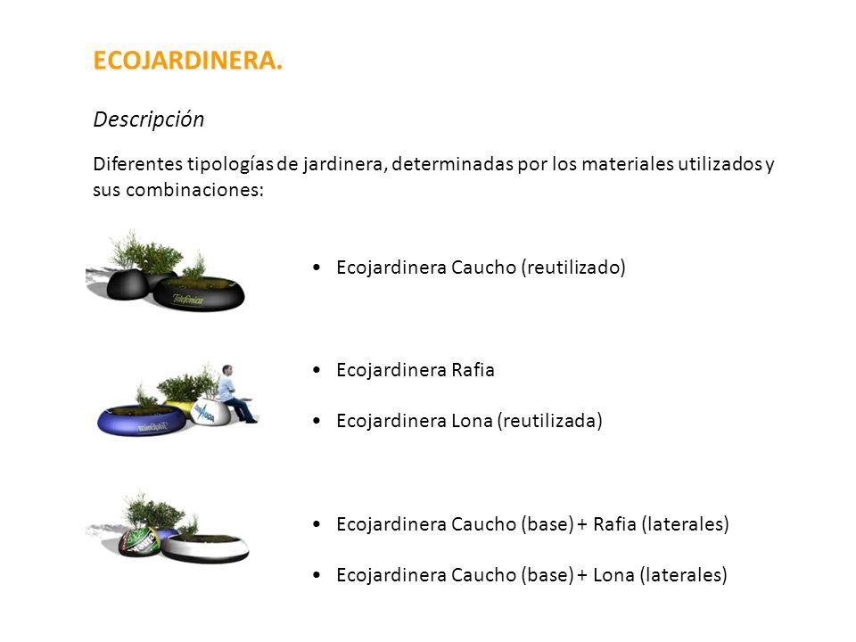 Diferentes tipologías de jardinera, determinadas por los materiales utilizados y sus combinaciones: Ecojardinera Caucho (reutilizado) Ecojardinera Raf