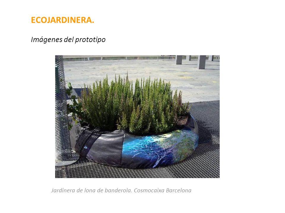 ECOJARDINERA. Imágenes del prototipo Jardinera de lona de banderola. Cosmocaixa Barcelona