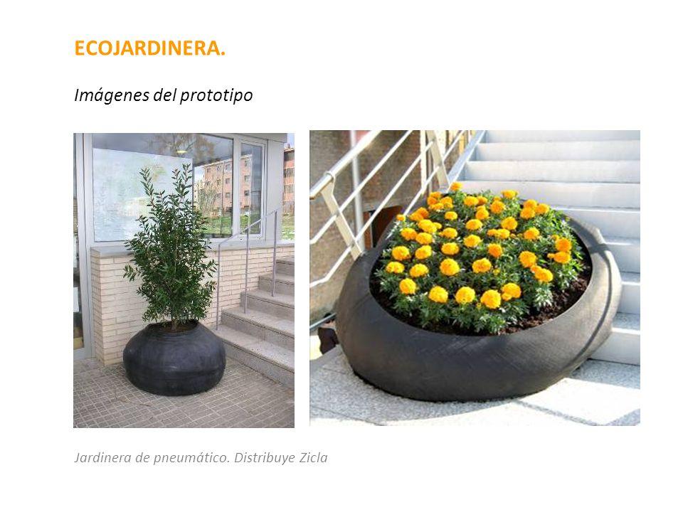 ECOJARDINERA. Imágenes del prototipo Jardinera de pneumático. Distribuye Zicla