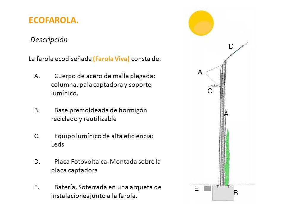 La farola ecodiseñada (Farola Viva) consta de: A. Cuerpo de acero de malla plegada: columna, pala captadora y soporte lumínico. B. Base premoldeada de