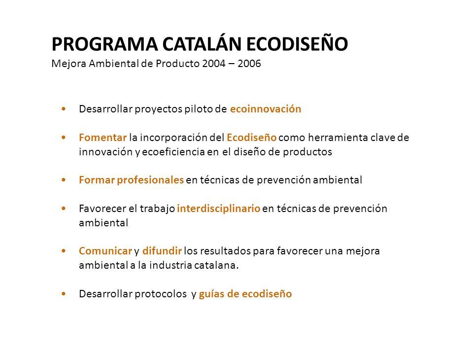 PROGRAMA CATALÁN ECODISEÑO Mejora Ambiental de Producto 2004 – 2006 Desarrollar proyectos piloto de ecoinnovación Fomentar la incorporación del Ecodis